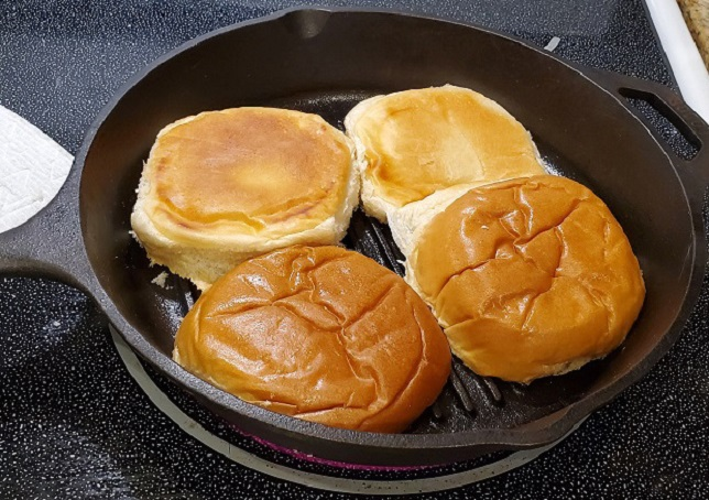 these are buns grilled in a cast iron pan