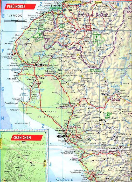 Mapa rodoviário do Norte do Peru