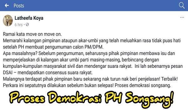 Proses Demokrasi PH Songsang! - Latheefa Koya