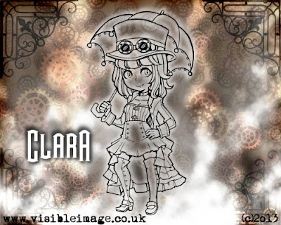 visible image character stamp clara steampunk lady