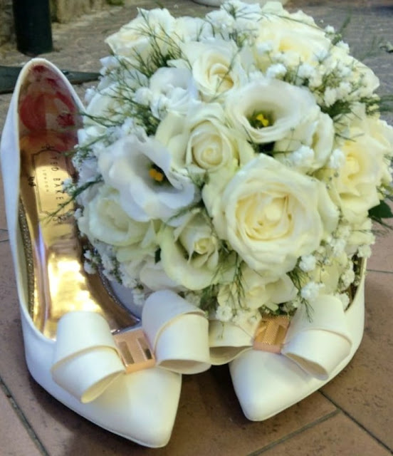 Ted Baker Wedding Shoes and my white bridal bouquet