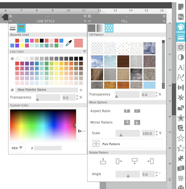 silhouette studio, silhouette studio v4.4, silhouette studio v4, silhouette studio beta, line style, fill color panel