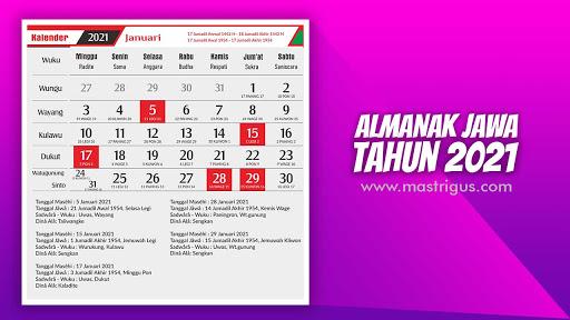 Download Kalender Jawa 2021 atau Almanak Jawa 2021 CDR