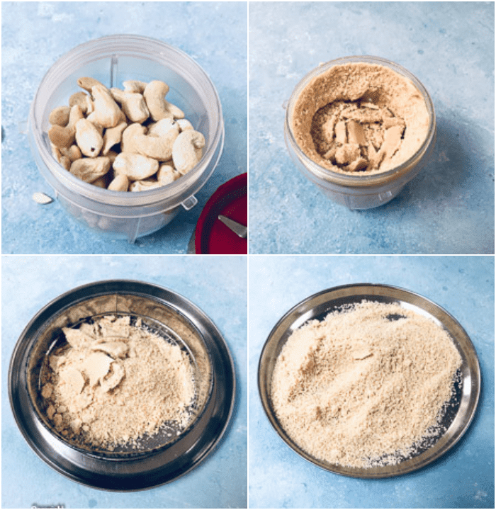 Collage of step by step images of making kaju katli-cashews in grinder, ground cashews in a jar, sieved cashew powder in a plate.