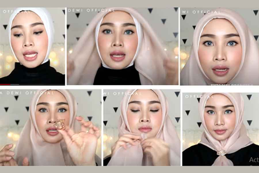 utorial Cara Memakai Hijab Organza Ala Dewi Sandra