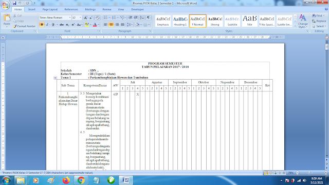Contoh Promes PJOK Kelas 3 SD Semester 1 Kurikulum 2013 Revisi Terbaru