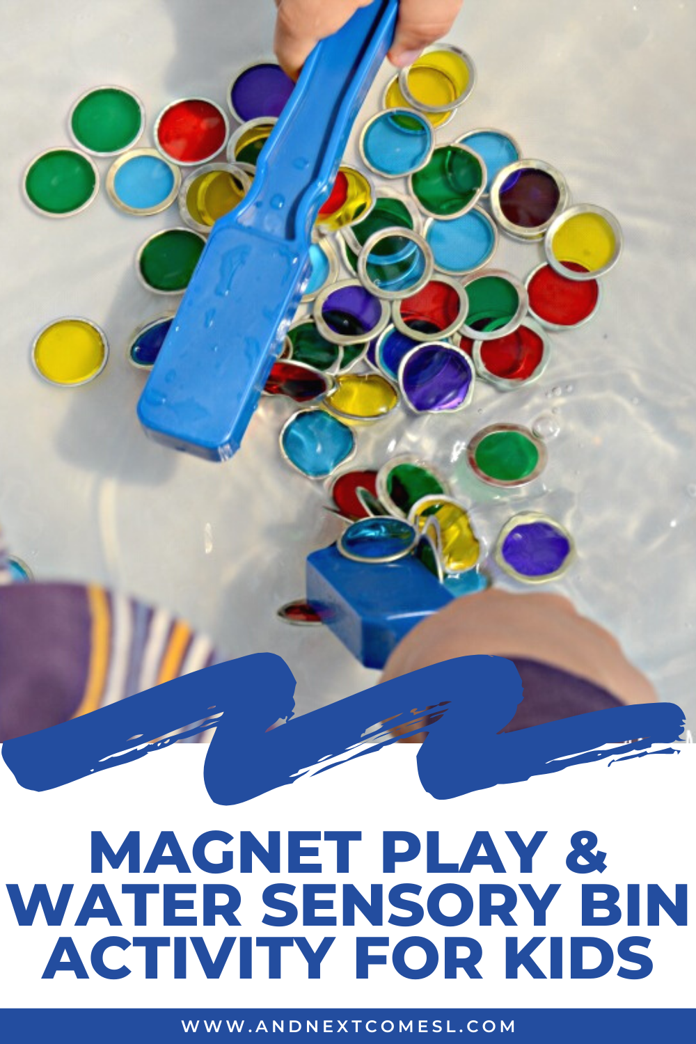 Combine magnet play with a water sensory bin to make one epic magnet sensory bin for kids!
