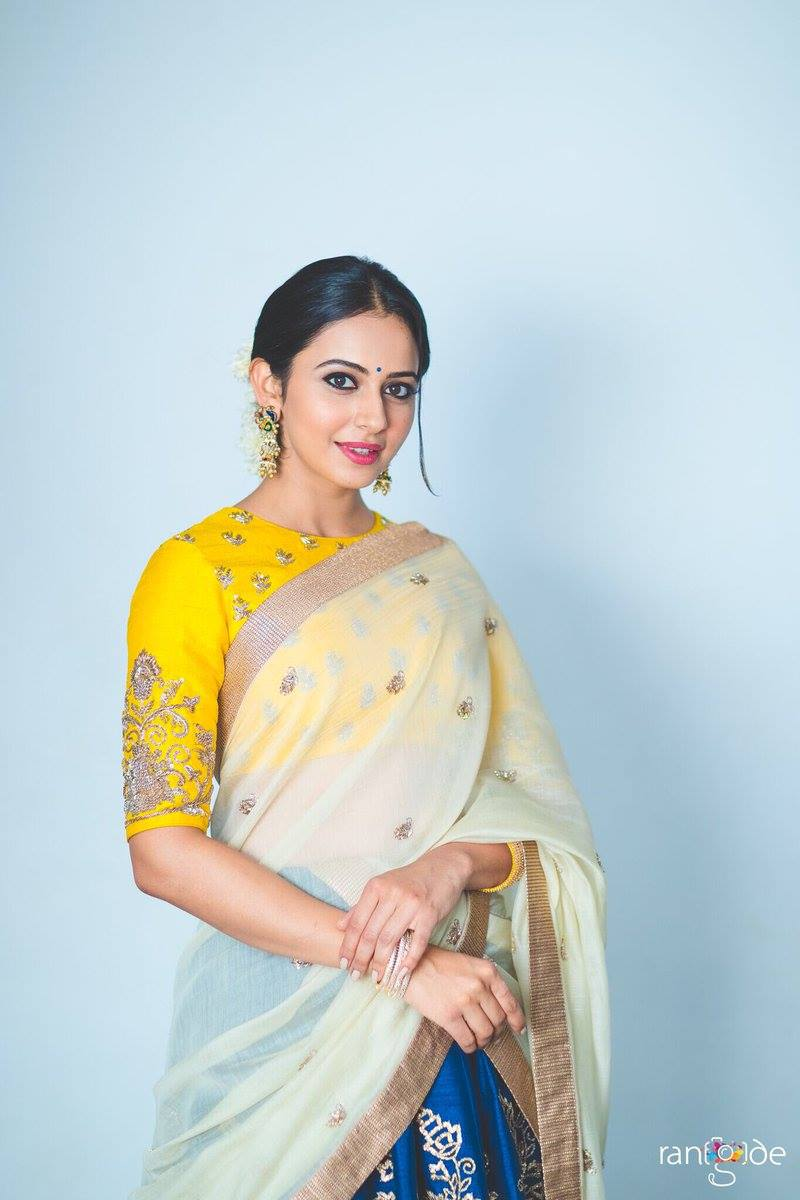 Beautiful Punjabi Girl Stills In Yellow Lehenga Choli Rakul Preet Singh