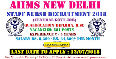 AIIMS 551 Staff Nurse Recruitment New Delhi 2018 (Central Govt Job)