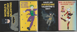 Front of first four Batman Valentine's Day cards