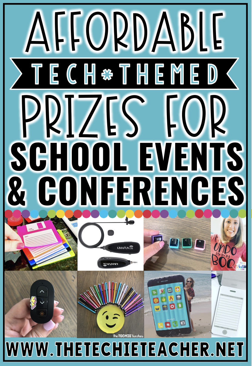 Affordable Technology Themed Prizes for School Events & Conferences: This post contains 20 ideas for door prizes and small gifts for educators who love technology.