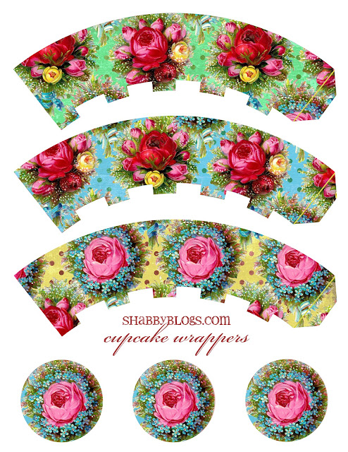 Shabby Chic Free Printable Cupcake Toppers and Wrappers.