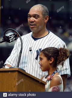 Reggie Jackson Speaks To The Yankee Stadium Crowd C As His Daughter Kimberly Stands Beside Him