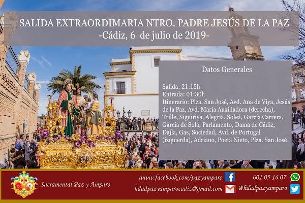 Horarios e Itinerarios Definitivos de la Hermandad de la Paz de Cádiz (Borriquita) de este Sábado 06 de Julio del 2019
