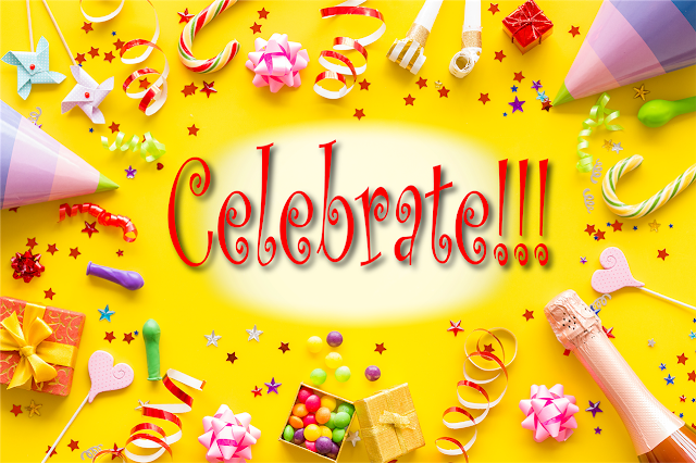 """Candy, streamers, gift bows, and other party objects surround the word """"Celebrate!!!"""""""