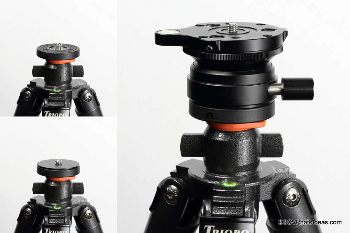Sunwayfoto DYH-66i mounting on tripod stud with spacer