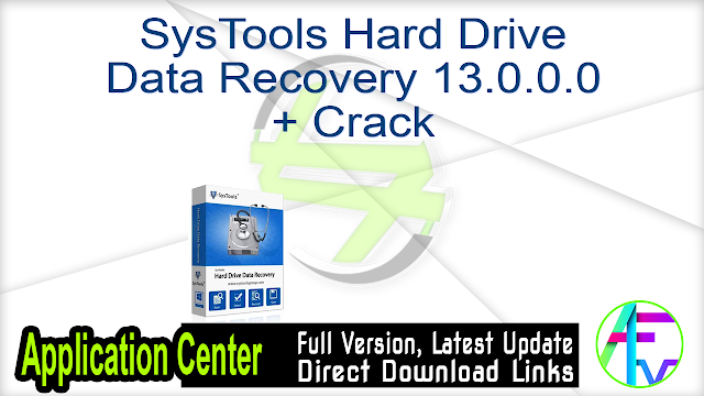 SysTools Hard Drive Data Recovery 13.0.0.0 + Crack