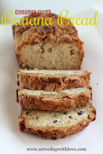 Cinnamon Crumb Banana Bread recipe from Served Up With Love will be your new go to recipe to use up those bananas sitting on the counter.