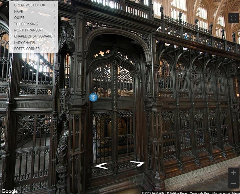 Mausoléu de Henry VII na Abadia de Westminster. Foto: reprodução do tour virtual no site da Abadia