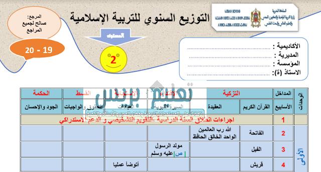 التوزيع السنوي لمادة التربية الإسلامية للمستوى الثاني للموسم الدراسي 2019/2020
