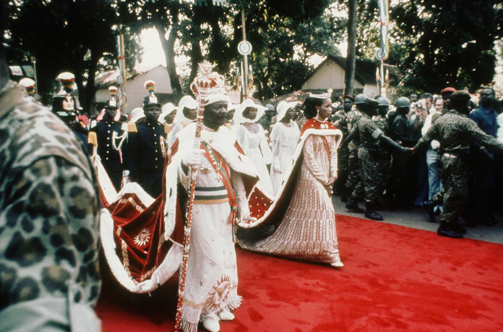 Jean-Bedel Bokassa arriving at the coronation ceremony.