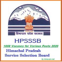 HPSSSB 1658 VARIOUS POSTS 2020