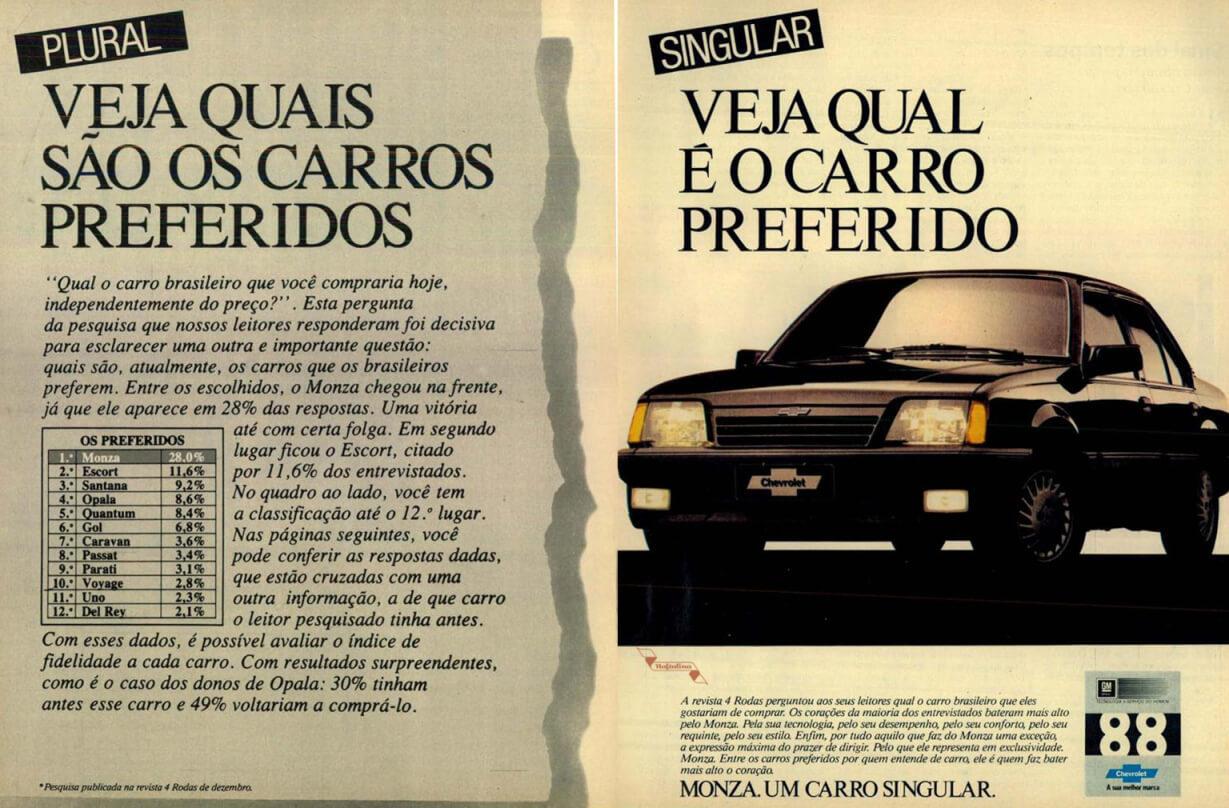 Propaganda da Chevrolet para promover a popularidade do Monza em 1988