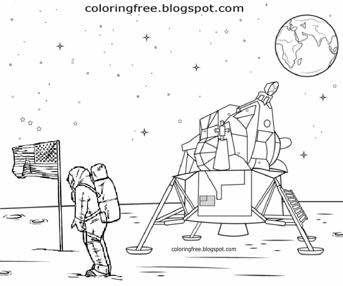 Colouring sheets of the lunar eclipse - National Aeronautics And Space Administration Astronauts Mission To Moon Coloring Pages For Collages
