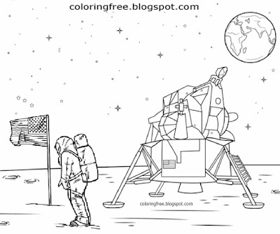 National Aeronautics and Space Administration astronauts mission to moon coloring pages for collages