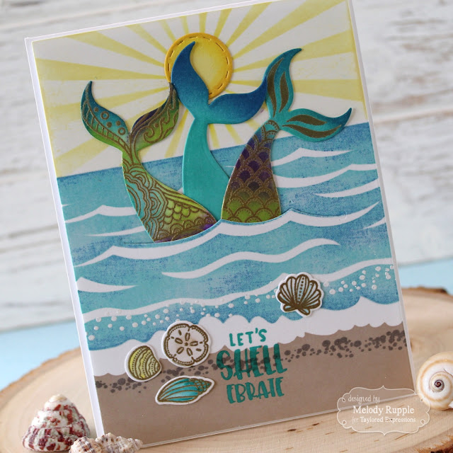 12b1dba931 The tails are stamped in Versamark Ink and embossed with Gold Embossing  Powder. I sponged on ink to add the color. The sentiment and shells are  included in ...