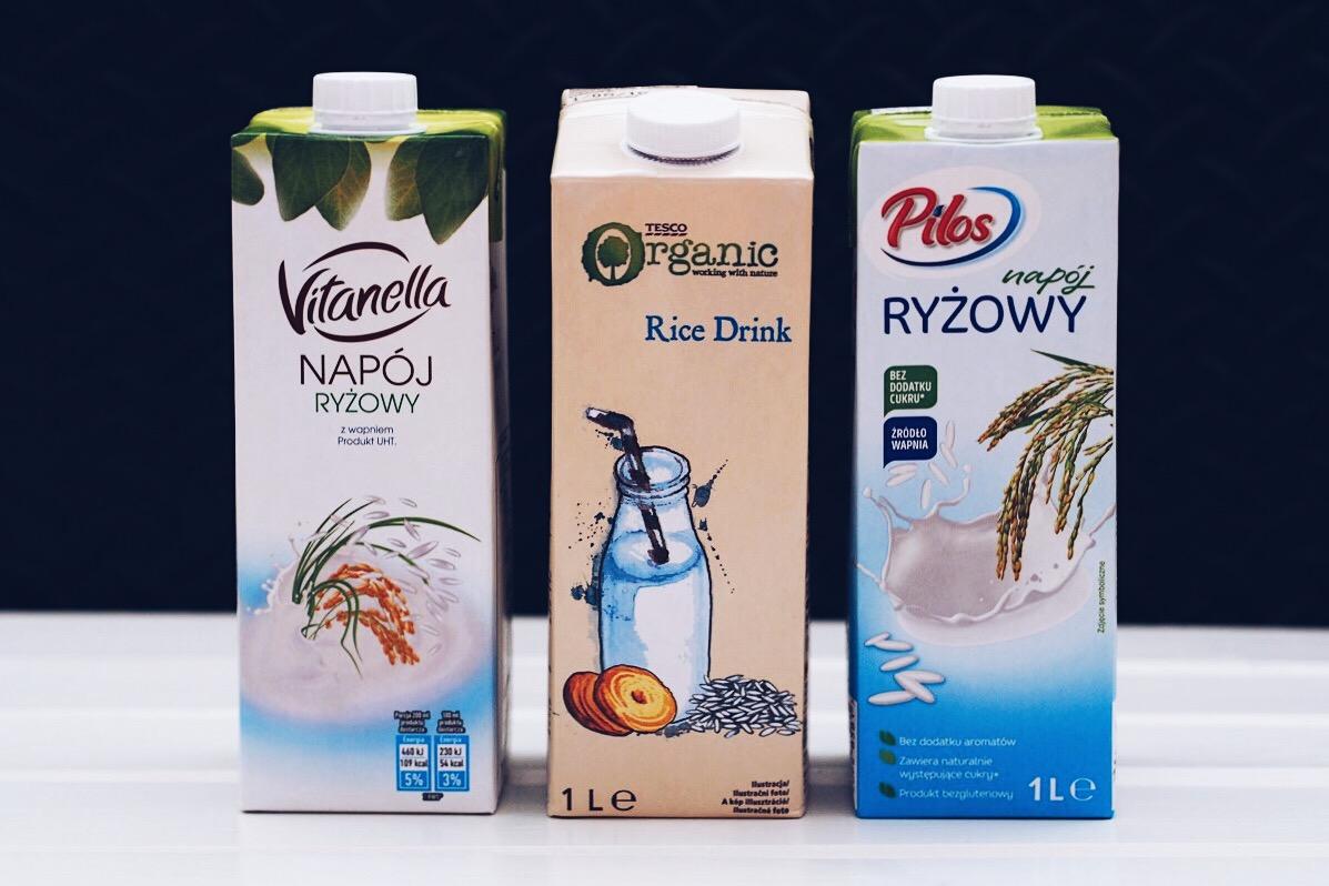 Mleko ryżowe, czyli napoje ryżowe z Biedronki, Tesco i Lidla.
