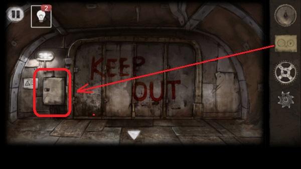 в ящике ставим шестеренки около выхода в игре выход из заброшенной шахты