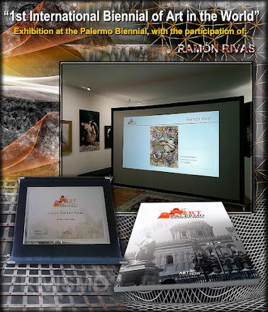 """Proyección de la obra de Ramón Rivas ·Experiential"""" en la Galería Effetto Arte de Palermo,  junto a la Placa y Catálodo del Evento de Arte"""