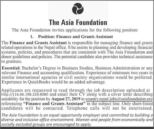 The Asia Foundation Vacancy for Finance and Grants Assistant