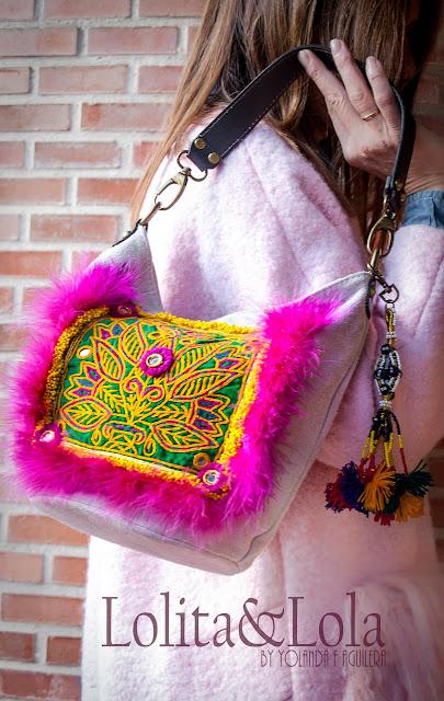 bolso handbag boho chic plumas moda complementos fashion lolitaylola