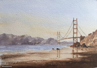A water color painting of Golden Gate Bridge on Chitrapat handmade paper