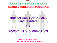 Weekly Children Program - HUMAN BODY AND BONE MOVEMENT - 08.03.2020