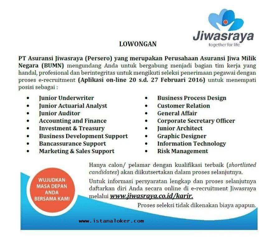 Penerimaan Pegawai PT Asuransi Jiwasraya (Persero) Tahun 2016