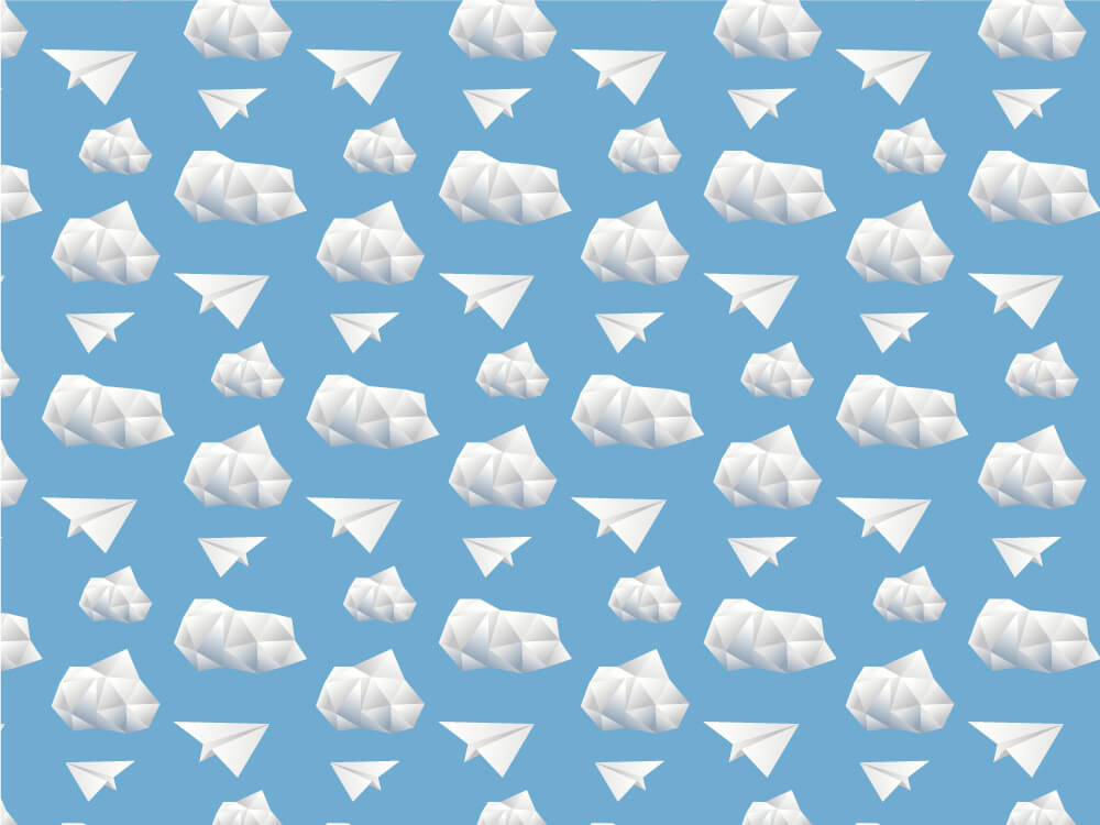 Pattern with paper planes and paper clouds