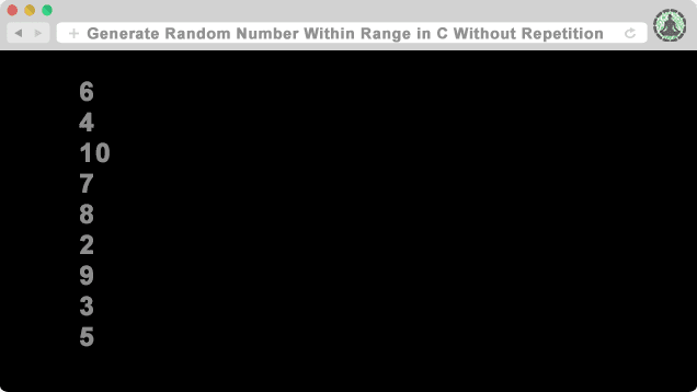 C Program To Generate Random Number Within Range Without Repetition