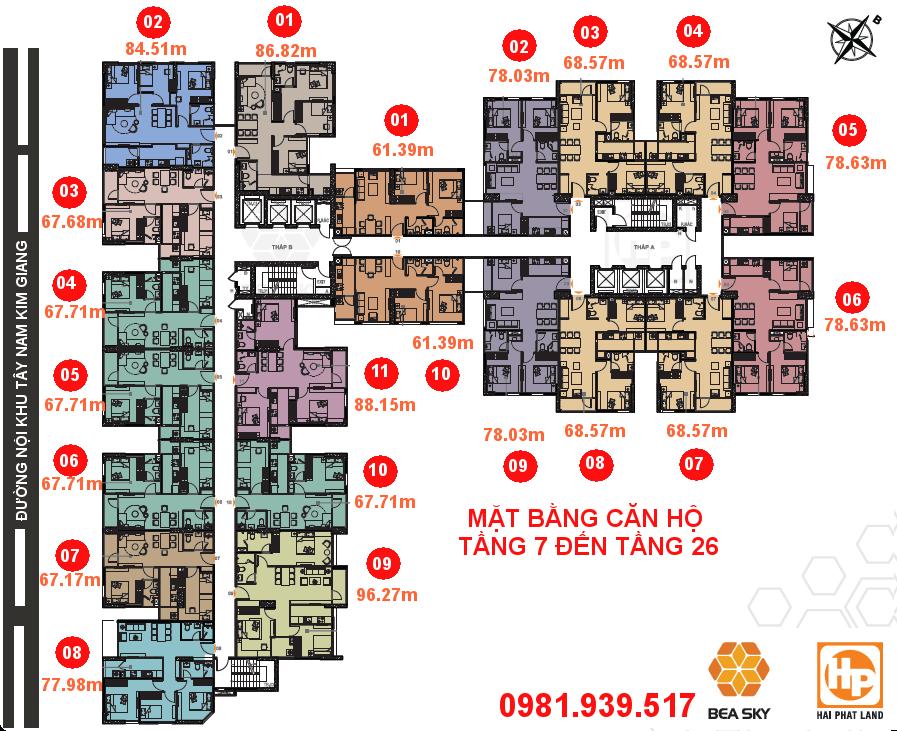 Mặt bằng căn hộ Bea Sky Nguyễn Xiển tòa A và B | Tầng 7 - 26