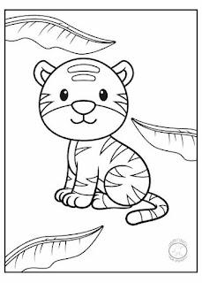 animales bebé para colorear tigre