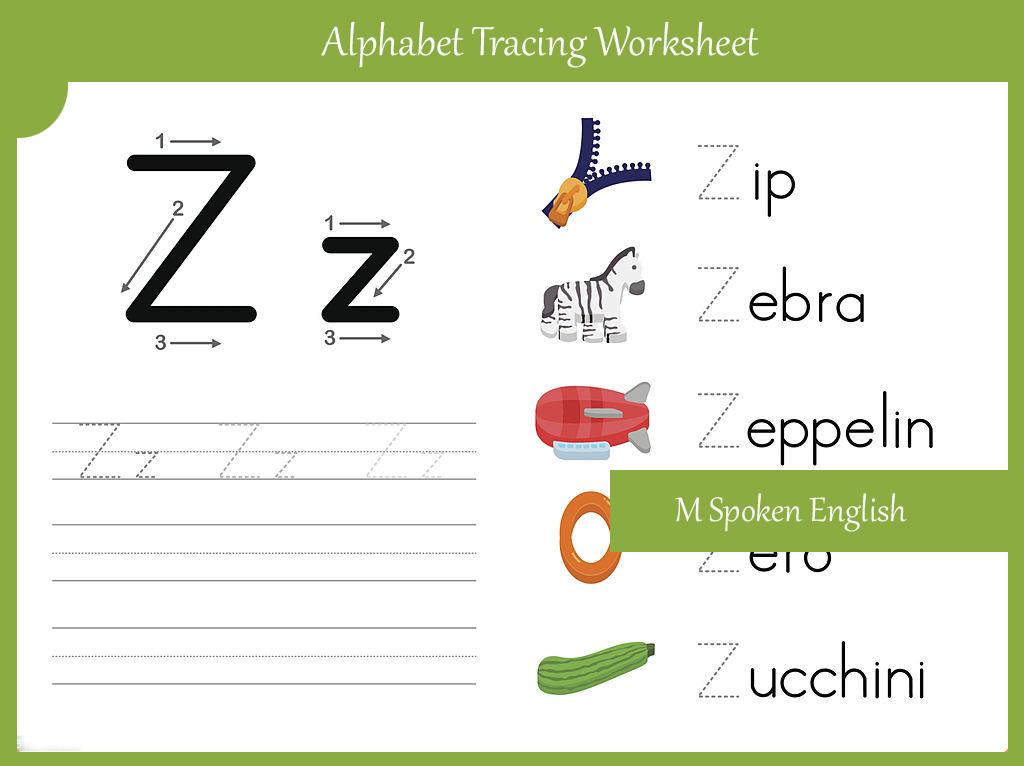 Printable Worksheets free alphabet tracing worksheets a to z : M Spoken English: Alphabet Worksheet Z