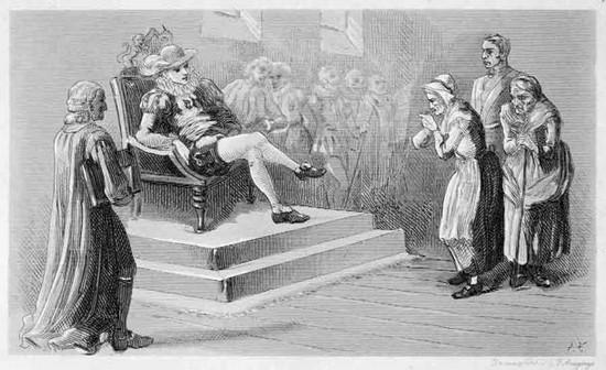 Le famigerate Streghe di North Berwick al processo davanti a re Giacomo nel 1591.