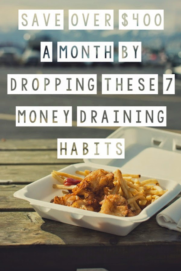 Save over $400 a month, $4,800 a year by dropping these 7 money draining habits. Easy ways to save money. Tips on saving money. Manage money, pay off debt. How can I really save money? How do you save money? Ways to save money on a tight budget. Creative ways to save money. How to save money each month.
