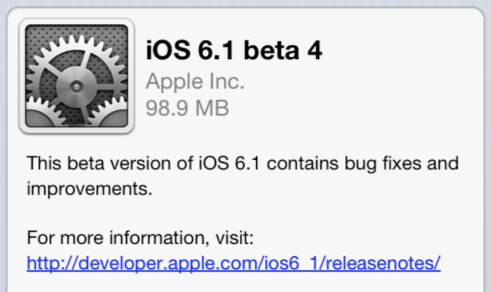 Apple iOS 6.1 Beta 4 IPSW Firmware