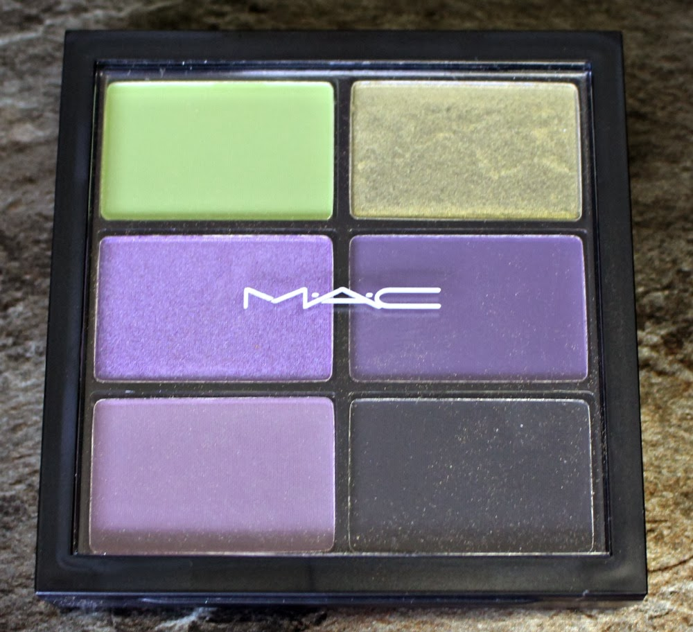 mac cosmetics, rick baker, mac x rick baker, halloween 2013, eyeshadow palette, lime, moss, deep purple, indian ink, dusty purple, carbon, swatchfest