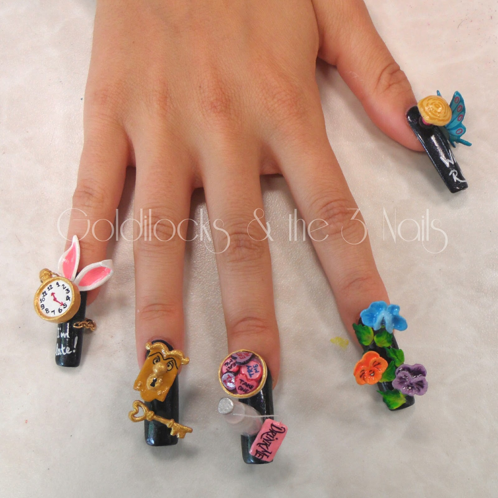 Goldilocks & the Three Nails: Alice in Wonderland 3D Nail Art