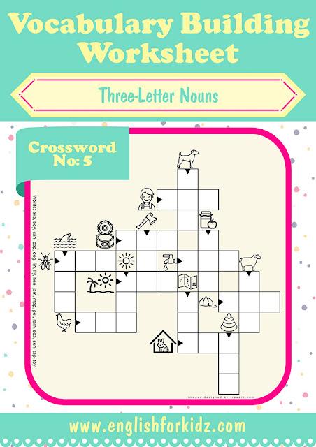 English vocabulary crossword puzzle, printable ESL EFL worksheets