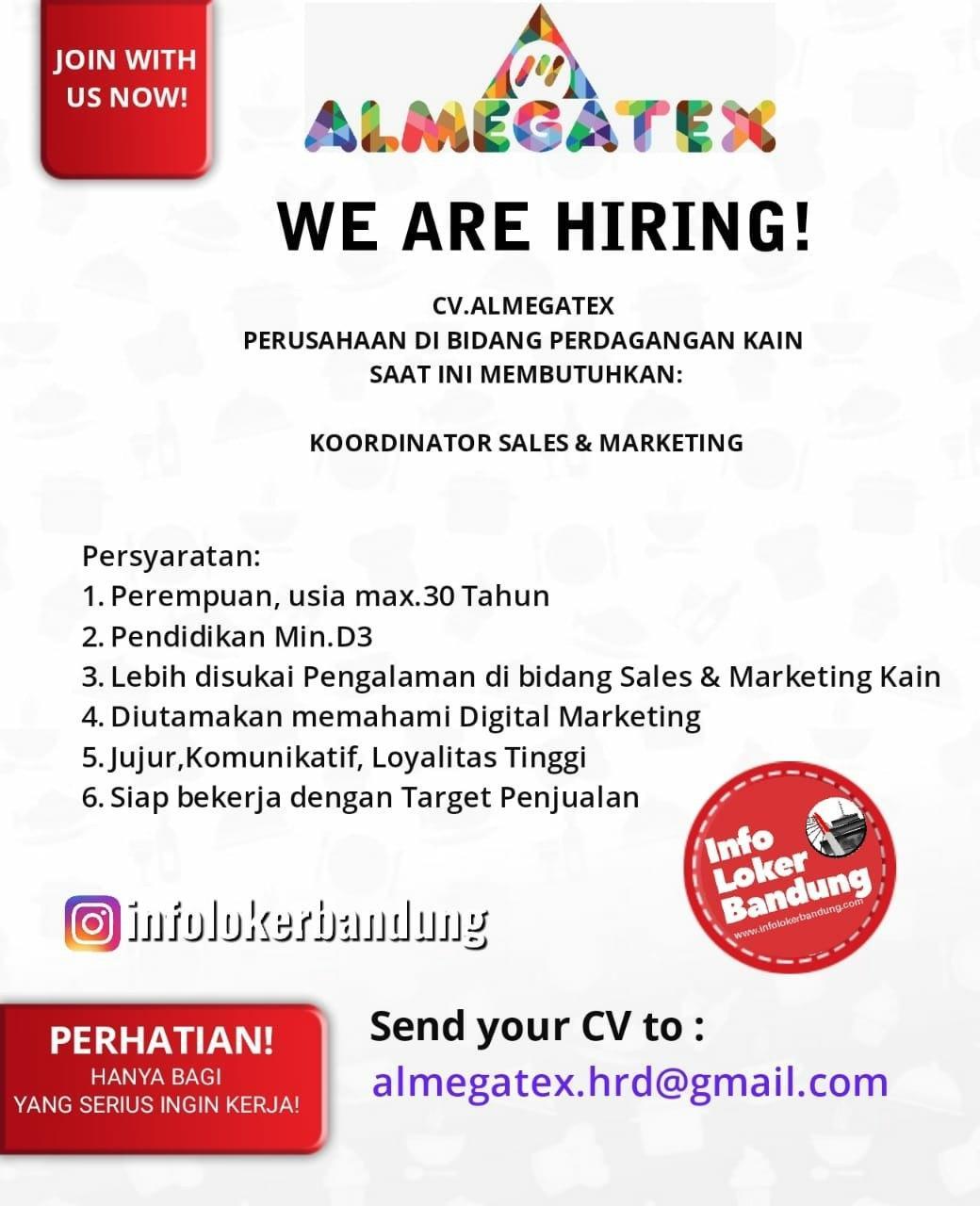 Lowongan Kerja CV. Almegatex Bandung Februari 2020